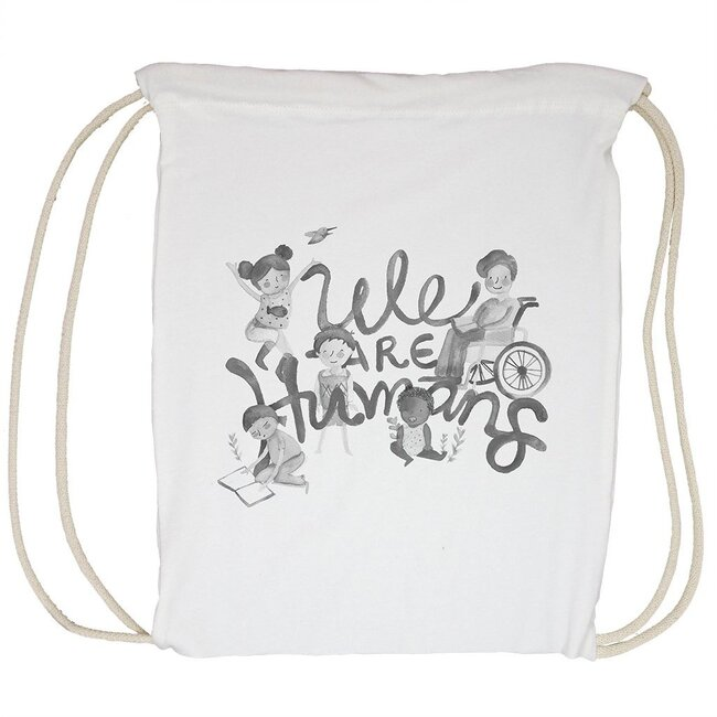 We Are Humans Tote Bag, Cream