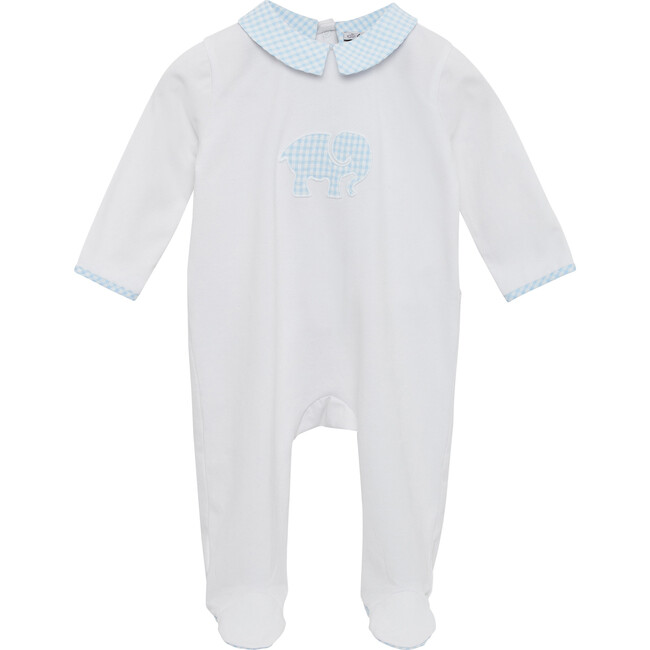 Elephant Applique All In One, Blue Gingham - One Pieces - 1