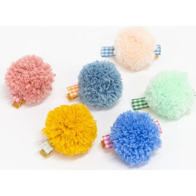 Gingham And Big Pompom Hair Clips