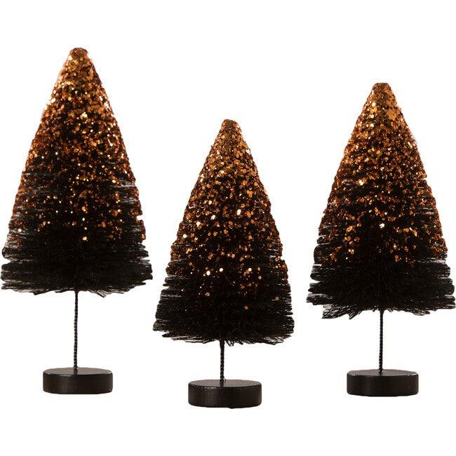 Black Bottle Brush Trees with Orange Glitter