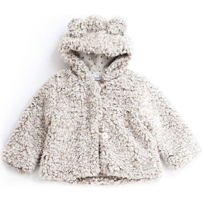 Hooded Bear Jacket, Beige - Coats - 1