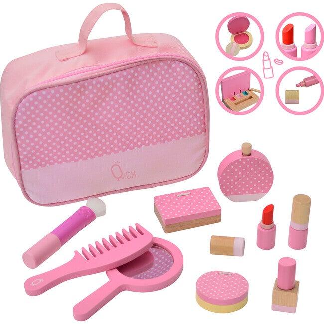 Fashion Polka Dot Print Chloe Wooden Vanity  Accessories Makeup Kit