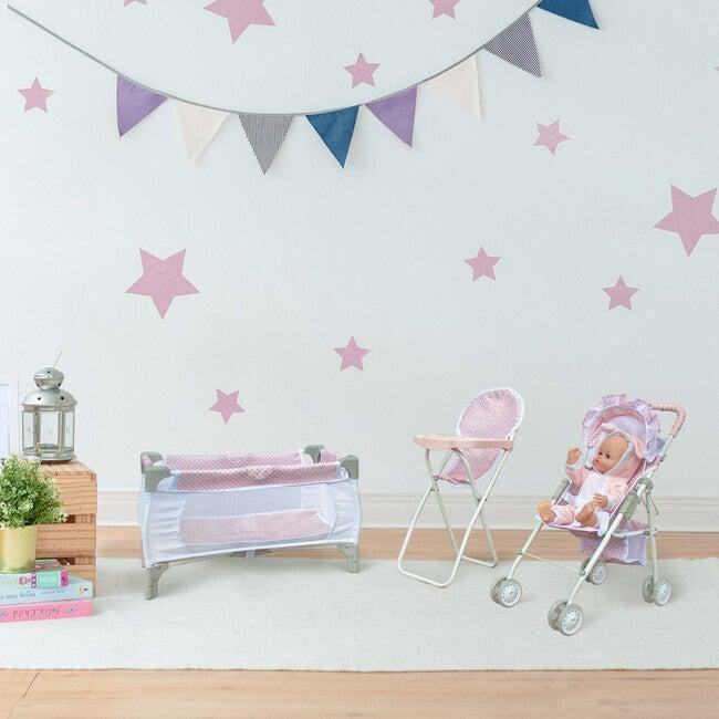 Polka Dots Princess 3 in 1 Doll Nursery Set - Pink & Grey