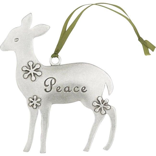 Peace Deer Ornament, Pewter