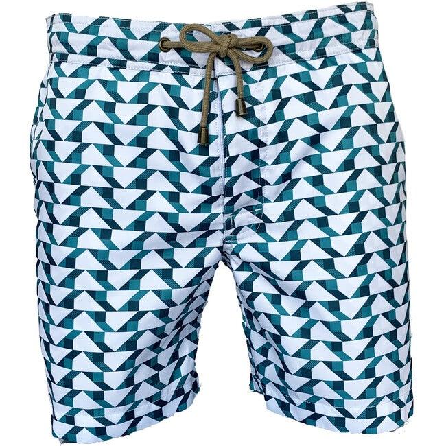 Men's Titan Blocks Swimshort, White