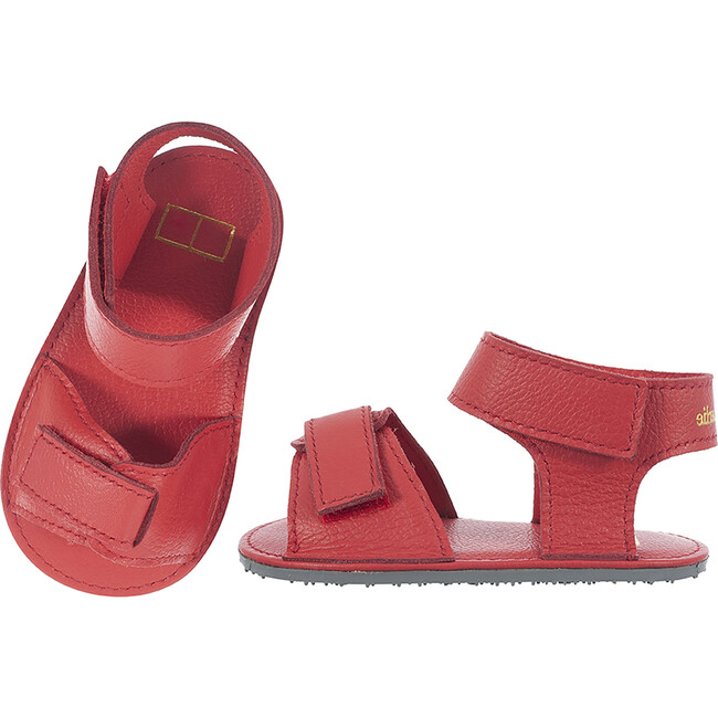 Sporty Velcro Strap Sandals, Red