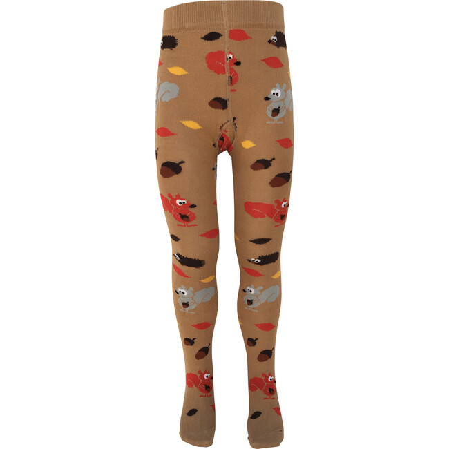 Autumn Leaves and Animals Footed Tights, Fawn