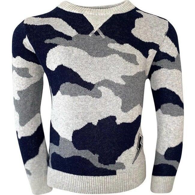 Grey Camo Flash Patch Sweater, Multi