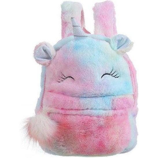 Fuzzy Tie Dye Unicorn Backpack, Multi