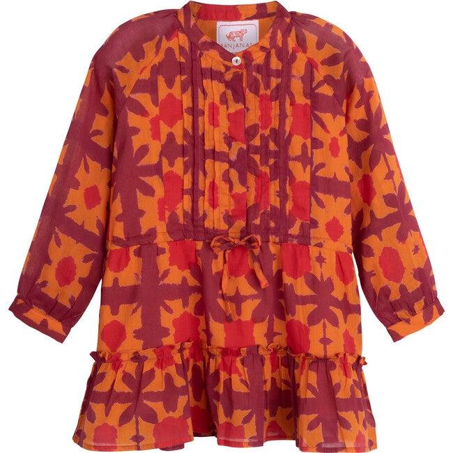Bazaar Dress, Clamp Dye Jaffa Orange