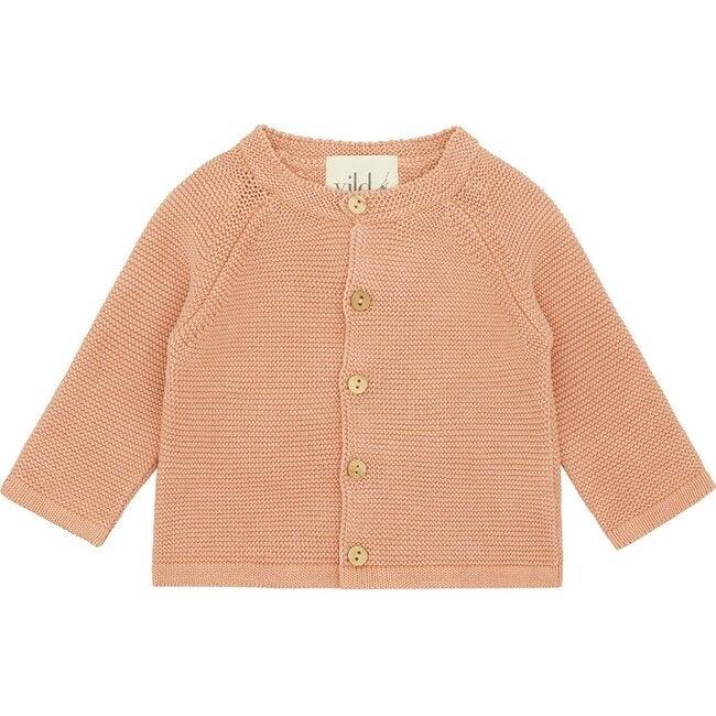 Organic Cotton Knit Cardigan, Natural Rust Pink Mineral Dye