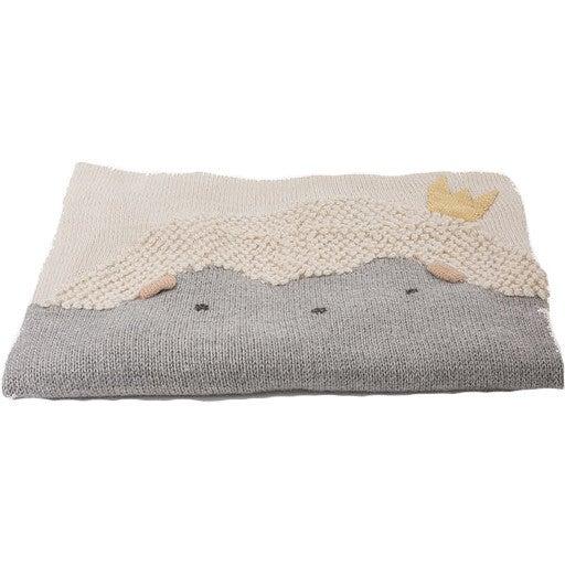 Handknit Hedgehog Blanket, Grey and Natural