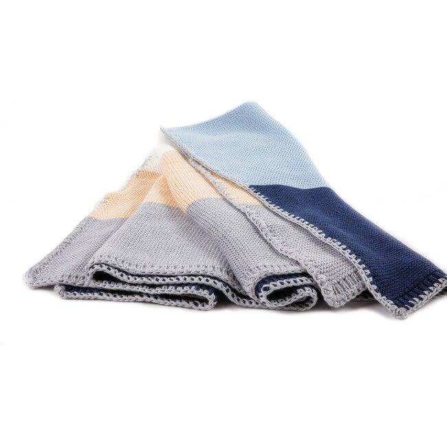 Colorblock Blanket, Blue Combo