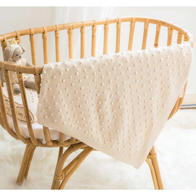 Handknit Bobble Blanket, Natural