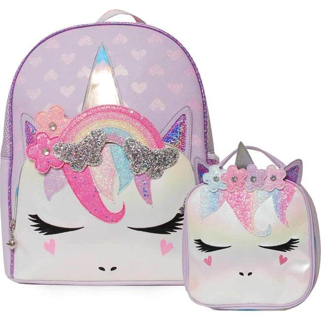 Miss Gwen Rainbow Butterfly Crown Backpack and Lunch Bag Set, Lavender