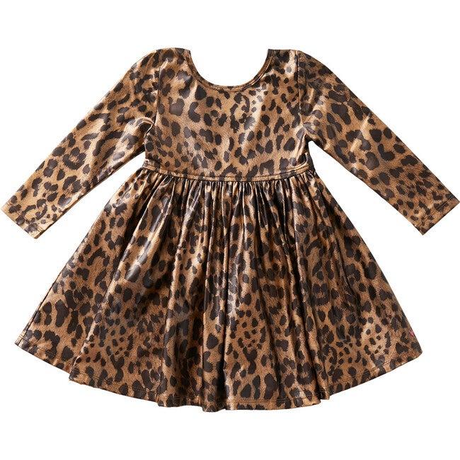 Liza Lame Dress, Leopard Metallic