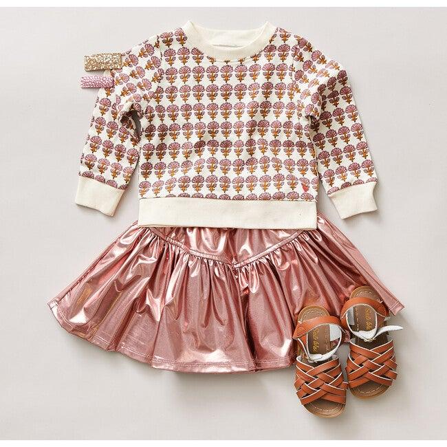 Alexis Lame Skirt, Dusty Pink Metallic