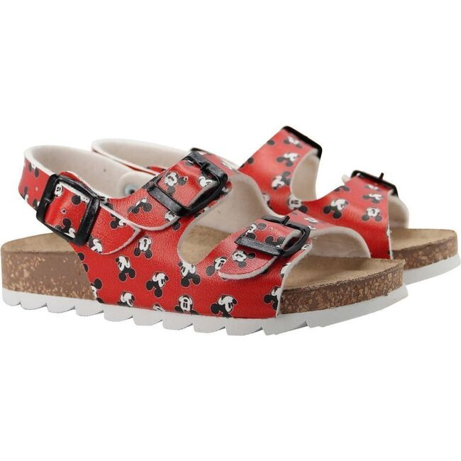 Mickey Print Sandals, Red