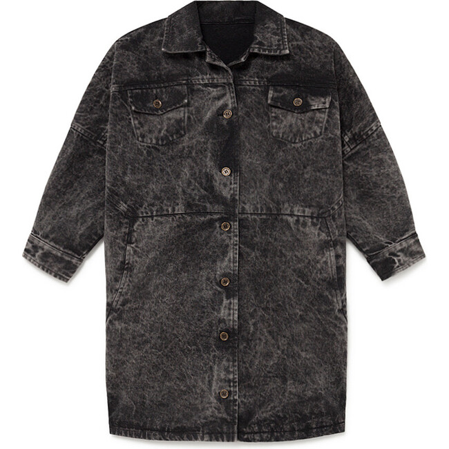 Stonewash Denim Coat, Faded Black