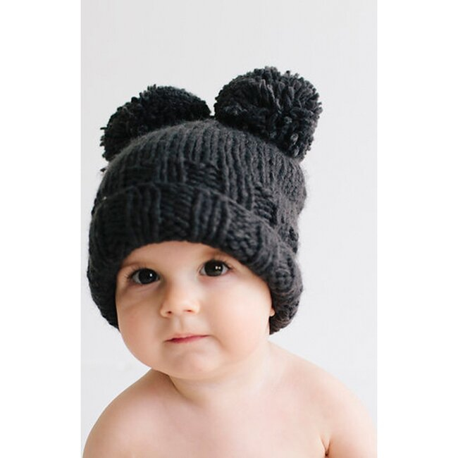Paxton Double Pom Hat, Black
