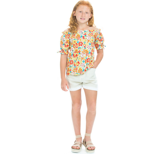 Millie Top, Tropical Daffodil Floral