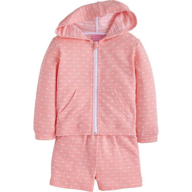 Hoodie Short Set, Pink Polka Dot