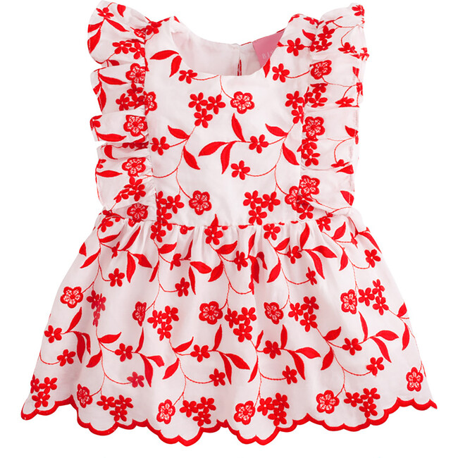 Diana Top, Red Floral Embroidery