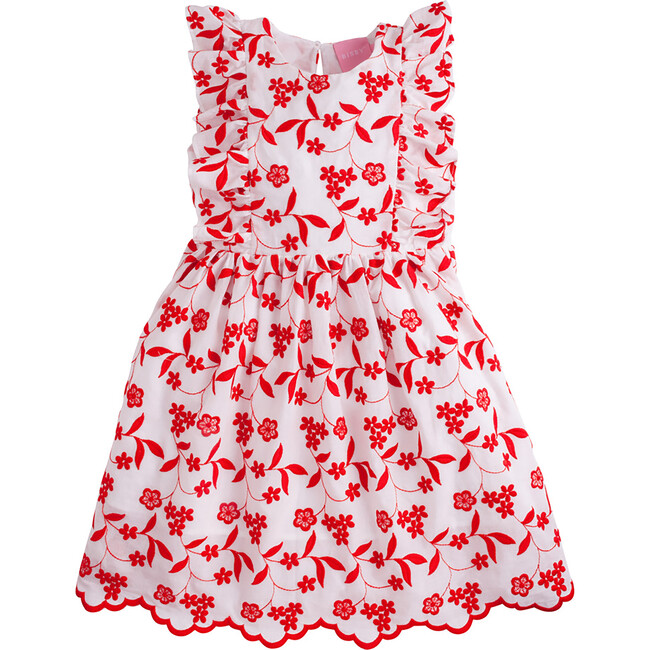 Diana Dress, Red Floral Embroidery