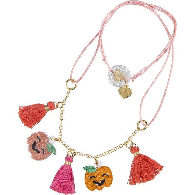 Pumpkin Halloween Glitter Necklace, Orange