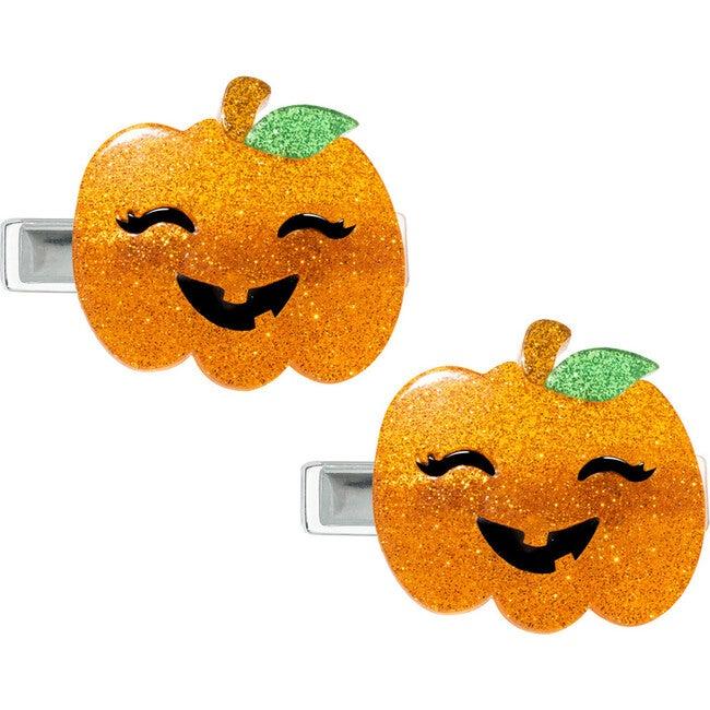 Pumpkin Halloween Glitter Alligator Clips, Orange
