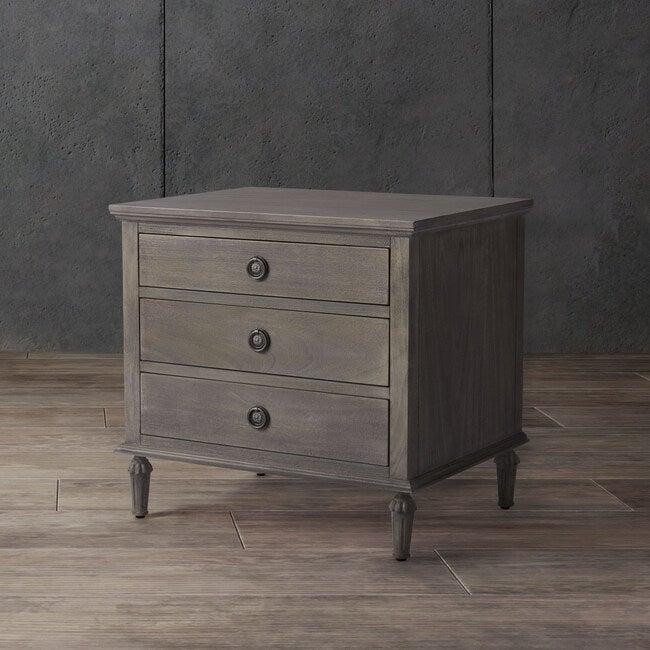 Lisabet 3 Drawer Nightstand, Washed Grey