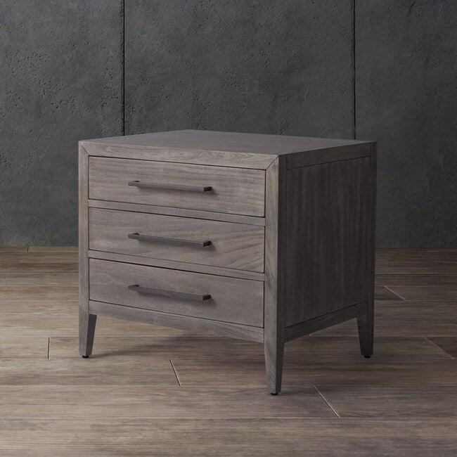 Ariella 3 Drawer Nightstand, Washed Grey