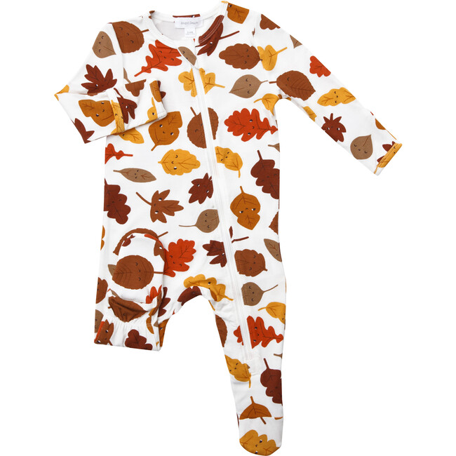 Fall Leaves Footie, White