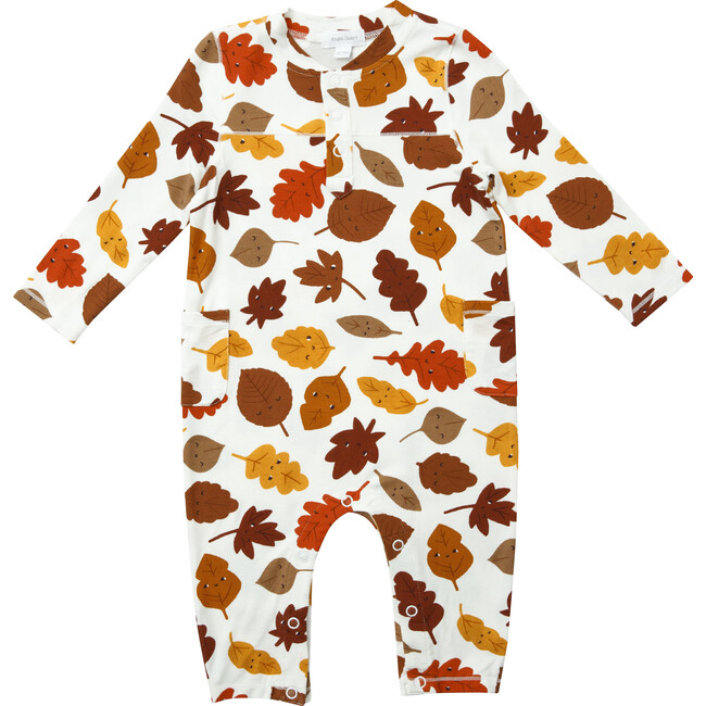 Fall Leaves Romper with Pockets, White