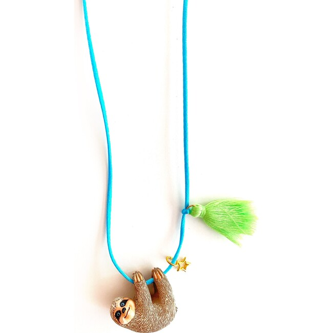 Silly Sloth Necklace, Blue