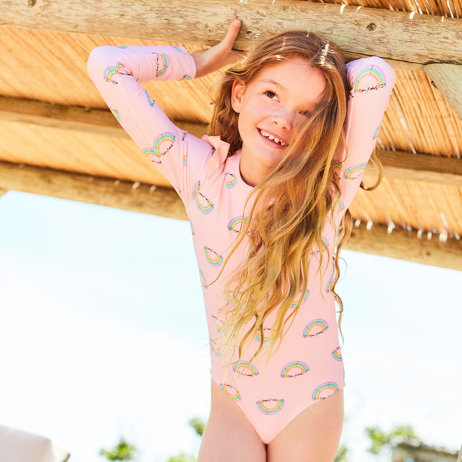 Sophie Rashguard One Piece, Pink Salt Rainbow