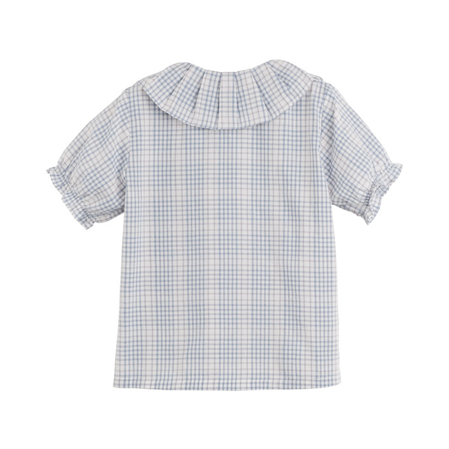 Lily Ruffle Collar Blouse, Light Blue Check