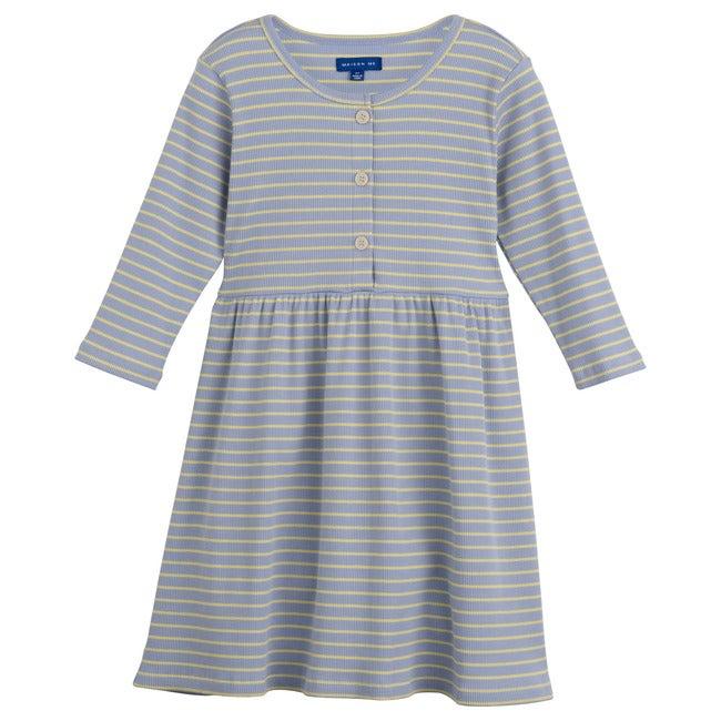 Miya Ribbed Dress, Blue & Yellow Stripe