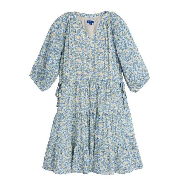 Heidi Tiered Dress, Blue Brushstroke Flowers