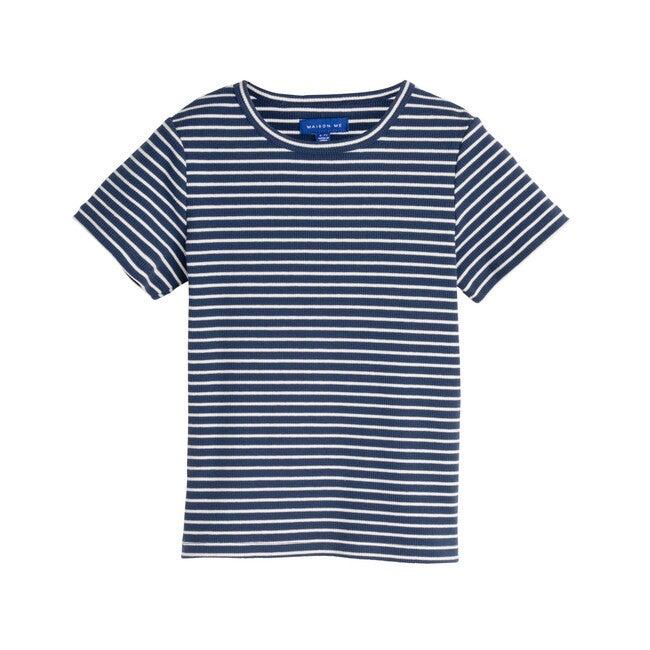 Rain Short Sleeve Ribbed Tee, Sapphire Navy & White