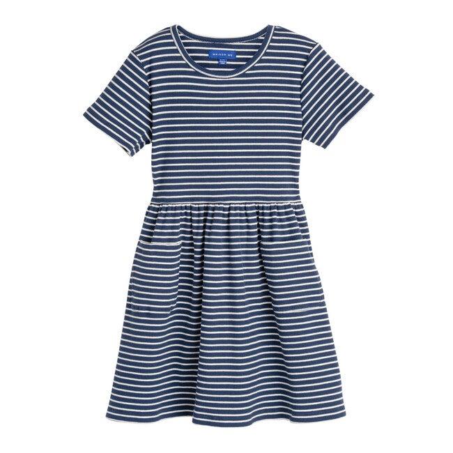 Marla Short Sleeve Ribbed Dress, Sapphire Navy & White