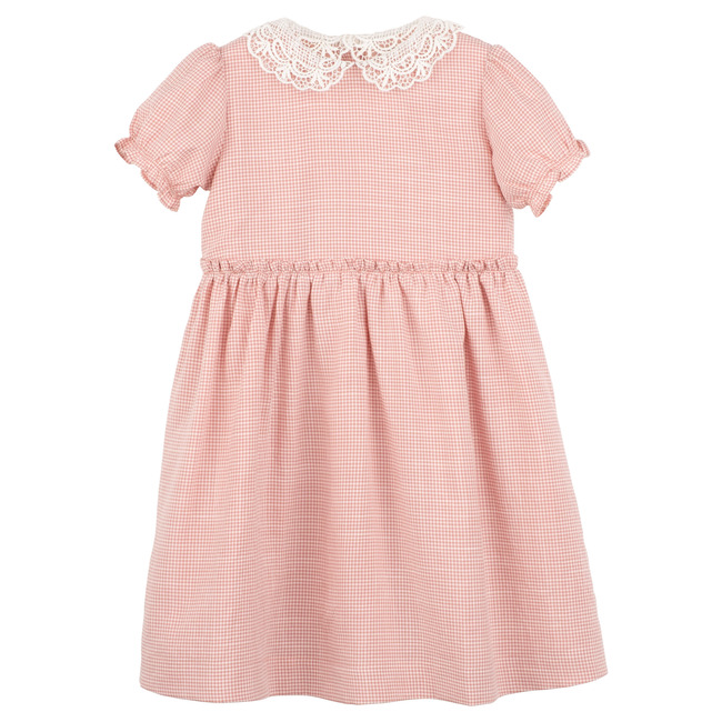 Pearl Lace Collar Dress, Dark Dusty Pink Gingham