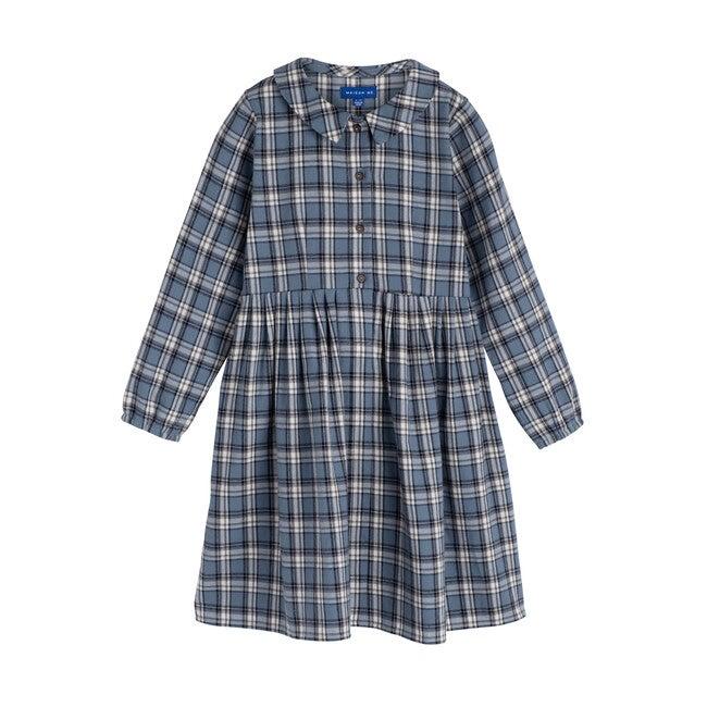Emma Long Sleeve Collared Dress, Blue Check