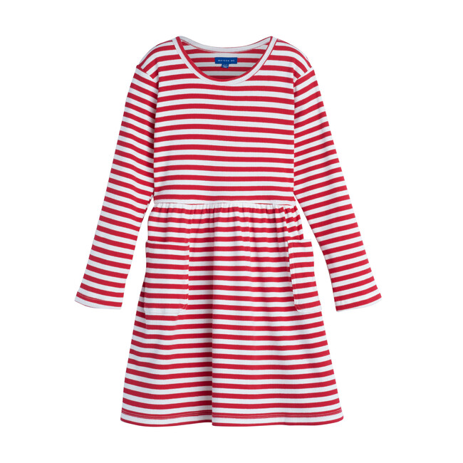 Marley Ribbed Long Sleeve Dress, Red Stripe