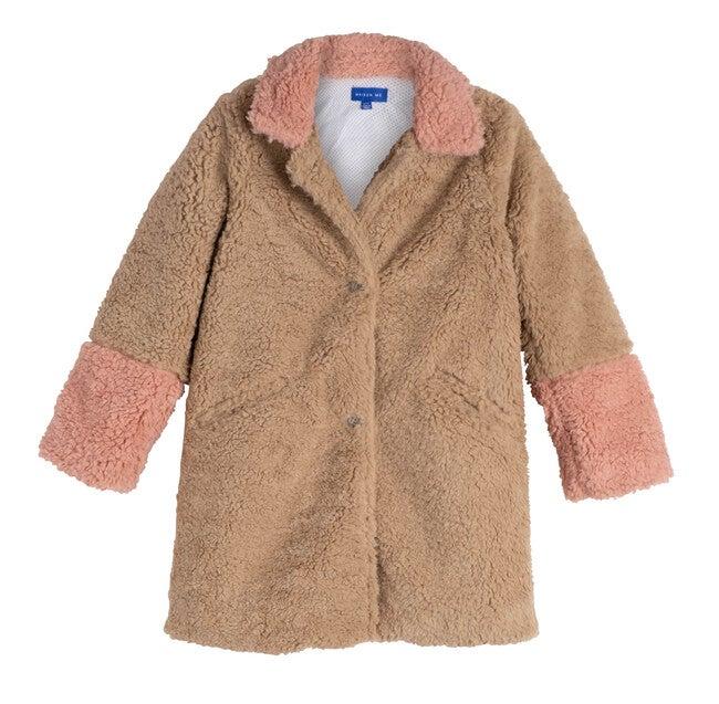 Etta Teddy Coat, Tan & Rose