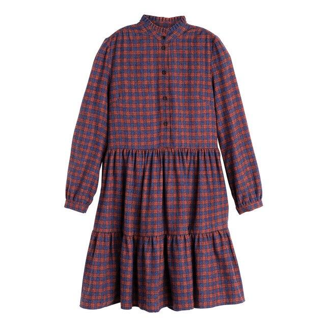Women's Caroline Tiered Dress, Red Multi Flannel