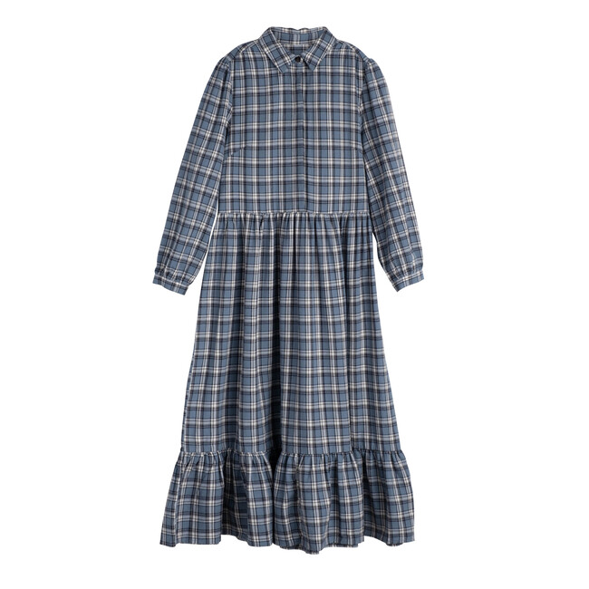 Elizabeth Women's Long Sleeve Collared Dress, Blue Check - Dresses - 1