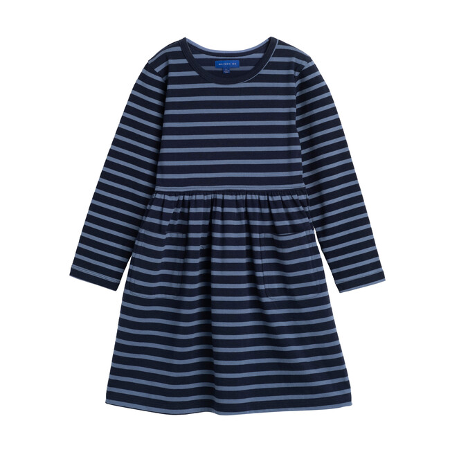 Marley Long Sleeve Jersey Dress, Navy Storm Blue Stripe