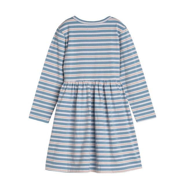 Marley Long Sleeve Jersey Dress, Powder Blue Multi Stripe