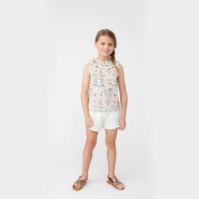 Maisie Ruffle Collar Top, Flowers & Rabbits